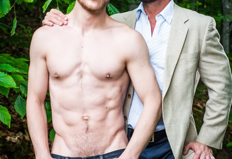 Hairy chested muscle hunk Matt Stevens fucks the tight asshole of his step son Caleb King