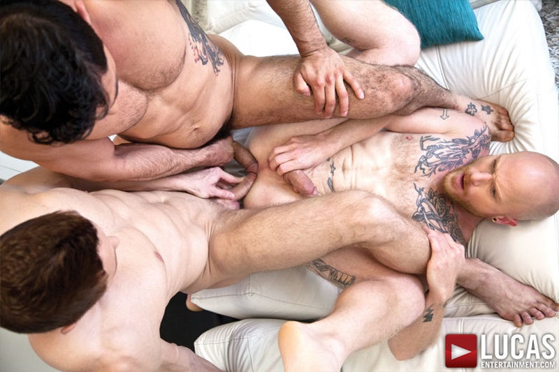 Comrad Blu bareback ass fucking with Mikoah Kan and Brock Rustin