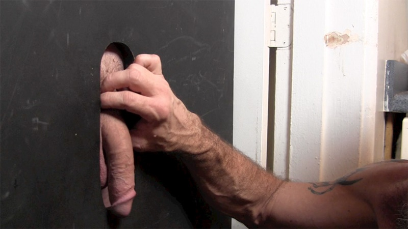 Football coach big Bill gets his cock sucked at the glory hole