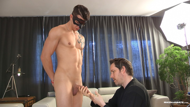 Maskurbate Pascal gives young muscle boy Marc's big uncut cock a hand job