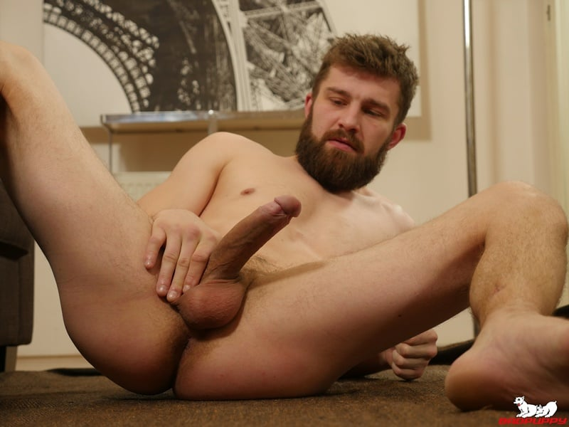 Hot bearded muscle stud Nikol Monak strips out of his tight undies and jerks his huge uncut dick
