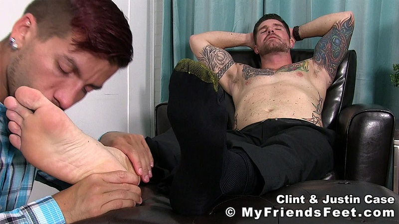 My Friends Feet Justin Case on his knees massaging and sniffing Clint's dress socked feet