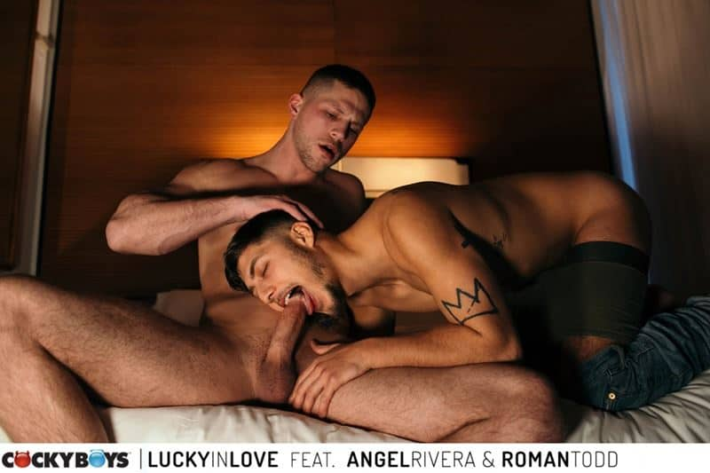 Sexy Latino stud Angel Rivera catches horny hunk Roman Todd's full cum load in his mouth
