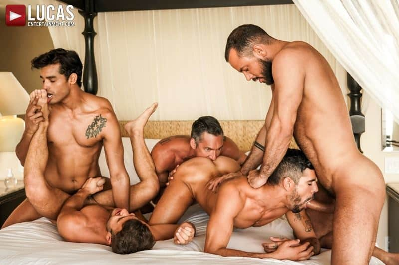 Sordid gay anal orgy Allen King, Marco Antonio, Silver Steele, Sir Peter and Valentin Amour hardcore raw anal fuck fest